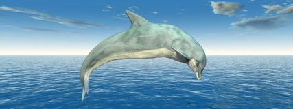 Jumping dolphin in the sea. Computer generated 3D illustration with a jumping dolphin in the sea Stock Photos