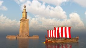 Lighthouse of Alexandria and ancient Greek warship. Computer generated 3D illustration with the lighthouse of Alexandria and ancient Greek warship Royalty Free Stock Photography