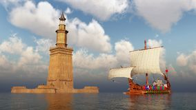 Lighthouse of Alexandria and ancient Roman warship. Computer generated 3D illustration with the lighthouse of Alexandria and ancient Roman warship royalty free illustration