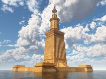 Lighthouse of Alexandria. Computer generated 3D illustration with the lighthouse of Alexandria vector illustration