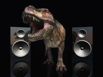 Loudspeaker boxes and Tyrannosaurus Rex Royalty Free Stock Image