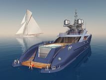 Luxury yacht and sailing yacht. Computer generated 3D illustration with luxury yacht and sailing yacht Stock Image