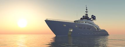 Luxury yacht at sunset. Computer generated 3D illustration with a luxury yacht at sunset Stock Photography