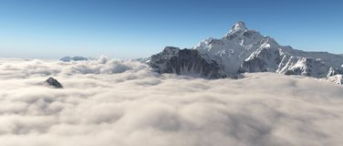 Mountain panorama over the clouds royalty free illustration