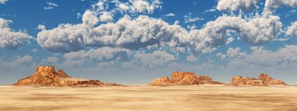 Nice weather clouds over a desert landscape. Computer generated 3D illustration with nice weather clouds over a desert landscape Royalty Free Stock Photos