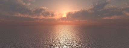 Ocean panorama. Computer generated 3D illustration with an ocean panorama Royalty Free Stock Image