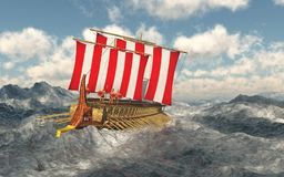 Odysseus and his companions in the stormy sea. Computer generated 3D illustration with Odysseus and his companions in the stormy sea vector illustration