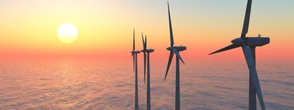 Offshore wind power at sunset. Computer generated 3D illustration with offshore wind turbines at sunset Stock Images