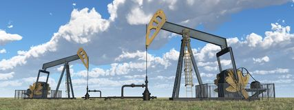 Oil pumps in a landscape. Computer generated 3D illustration with oil pumps in a landscape Stock Image
