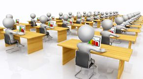 Open plan office with 3D figures Stock Photography