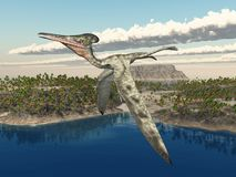 Pterosaur Pterodactylus over an ocean landscape. Computer generated 3D illustration with the pterosaur Pterodactylus over an ocean landscape royalty free illustration