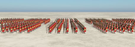 Roman army. Computer generated 3D illustration with Roman legionaries of ancient Rome Royalty Free Stock Images