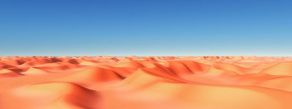 Sand desert with dunes. Computer generated 3D illustration with sand desert and blue sky Royalty Free Stock Photos