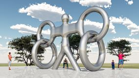 Art in public space. Computer generated 3D illustration with a sculpture in public space Stock Images
