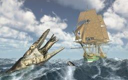 Sea monsters and sailing ship Stock Photos