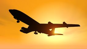 Silhouette of an airliner against a yellow sky. Computer generated 3D illustration with the silhouette of an airliner against a yellow sky Royalty Free Stock Images
