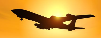 Silhouette of an airliner against a yellow sky. Computer generated 3D illustration with the silhouette of an airliner against a yellow sky Stock Photo