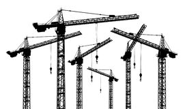 Silhouette of construction cranes. Computer generated 2D illustration with the silhouette of construction cranes Stock Photos
