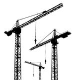 Silhouette of construction cranes. Computer generated 2D illustration with the silhouette of construction cranes Stock Photo