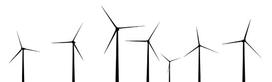 Silhouette of wind turbines. Computer generated 2D illustration with the silhouette of wind turbines Royalty Free Stock Photo
