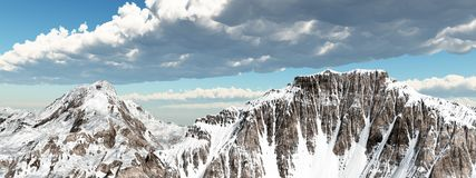 Snow covered mountains. Computer generated 3D illustration with snow covered mountains Royalty Free Stock Photography