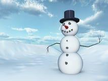 Snowman in a winter landscape. Computer generated 3D illustration with a snowman in a winter landscape Stock Photo