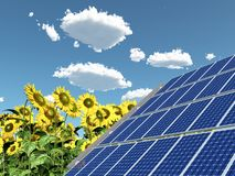 Solar panel and sunflowers. Computer generated 3D illustration with solar panel and sunflowers Stock Image