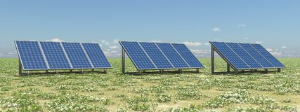 Solar panels in a landscape. Computer generated 3D illustration with solar panels in a landscape Royalty Free Stock Photo