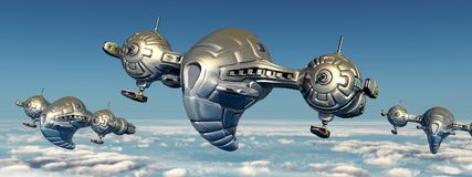Spacecrafts over the clouds. Computer generated 3D illustration with spacecrafts over the clouds Royalty Free Stock Images