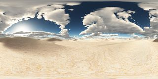 Spherical 360 degrees seamless panorama with a desert landscape. Computer generated 3D illustration with a spherical 360 degrees seamless panorama of a desert Stock Photography