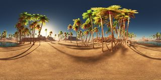 Spherical 360 degrees seamless panorama with a desert oasis and palms. Computer generated 3D illustration with a spherical 360 degrees seamless panorama of a Royalty Free Stock Images