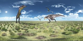 Spherical 360 degrees seamless panorama with Tyrannotitan and Quetzalcoatlus Royalty Free Stock Photo