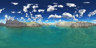 Spherical 360 degrees seamless panorama with a tarn. Computer generated 3D illustration with a spherical 360 degrees seamless panorama of a tarn stock illustration