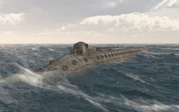 Submarine from the American Civil War. Computer generated 3D illustration with a submarine from the American Civil War Stock Images