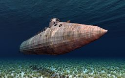 Submarine from the American Civil War. Computer generated 3D illustration with a submarine from the American Civil War Royalty Free Stock Image