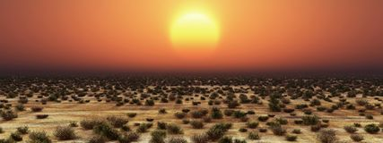Sunset over the steppe. Computer generated 3D illustration with a sunset over the steppe Stock Photo