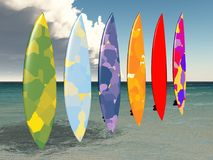 Surfboards against an ocean view Royalty Free Stock Photo