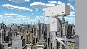 Surveillance camera over a city. Computer generated 3D illustration with a surveillance camera over a city Stock Photos
