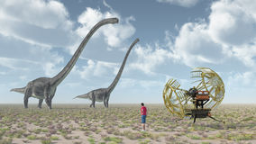 Time traveler, time machine and the dinosaur Omeisaurus Stock Image