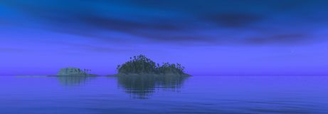 Tropical island at night. Computer generated 3D illustration with a tropical island at night Royalty Free Stock Photography