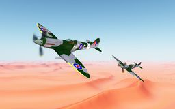 British fighter aircrafts of World War II. Computer generated 3D illustration with two British fighter aircrafts of World War II over a sand desert Royalty Free Stock Images