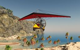 Ultralight trike over a coastal landscape. Computer generated 3D illustration with an ultralight trike over a coastal landscape Stock Photography