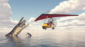 Ultralight trike over the sea and prehistoric marine reptile. Computer generated 3D illustration with an ultralight trike over the sea and prehistoric marine Stock Photos