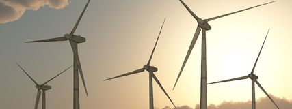 Wind power. Computer generated 3D illustration with wind turbines against a sunny sky Stock Image