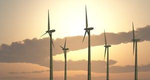 Wind turbines against a sunny sky. Computer generated 3D illustration with wind turbines against a sunny sky Stock Image