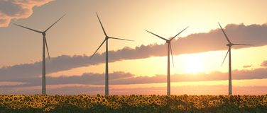 Wind turbines in a field of sunflowers at sunset. Computer generated 3D illustration with wind turbines in a field of sunflowers at sunset Stock Photo
