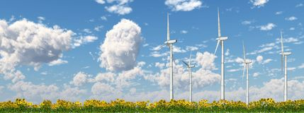 Wind power. Computer generated 3D illustration with wind turbines in a field of sunflowers Royalty Free Stock Photos