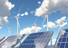 Wind turbines and solar panels Royalty Free Stock Image