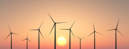 Wind turbines at sunset. Computer generated 3D illustration with wind turbines at sunset Royalty Free Stock Photo