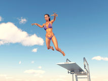 Woman jumping from a diving board. Computer generated 3D illustration with a woman jumping from a diving board Royalty Free Stock Photo